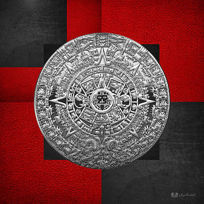 Silver Mayan-aztec Calendar On Black And Red Leather Poster