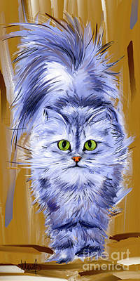 Silver Persian Cat Poster by Melanie D