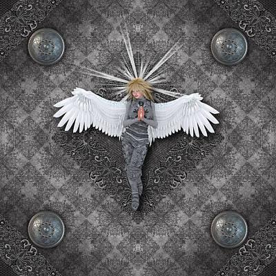 Silver Praying Angel Poster