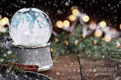 Poster featuring the photograph Silver Snow Globe With White Christmas Trees by Stephanie Frey