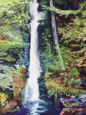 Poster featuring the painting Silver Thread Falls by Mary K Conaboy