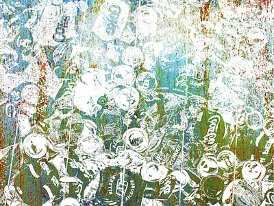 Silver Trashed Cans Painting Over Photo Poster by Tony Rubino