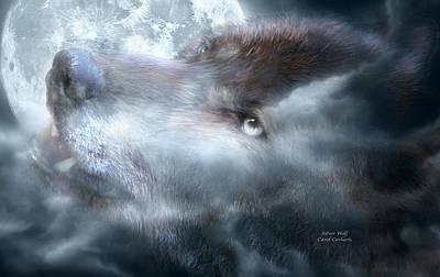 Silver Wolf Poster by Carol Cavalaris