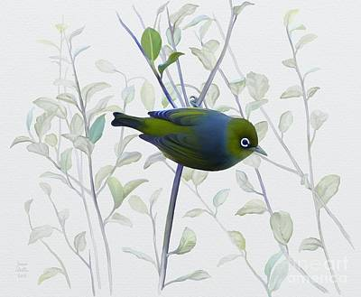 Poster featuring the painting Silvereye by Ivana Westin
