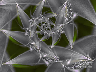 Poster featuring the digital art Silverleaves by Karin Kuhlmann