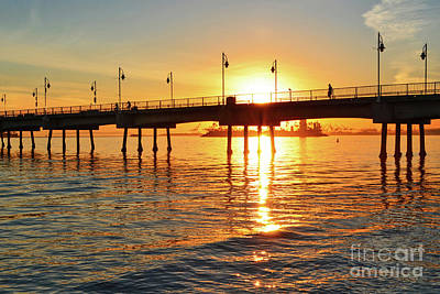 Sily Sunset At The Pier Poster