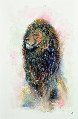 Poster featuring the painting Simba by Zaira Dzhaubaeva