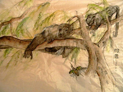 Poster featuring the painting Simian And Beetle by Debbi Saccomanno Chan