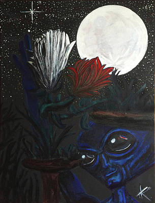 Poster featuring the painting Similar Alien Appreciates Flowers By The Light Of The Full Moon. by Similar Alien