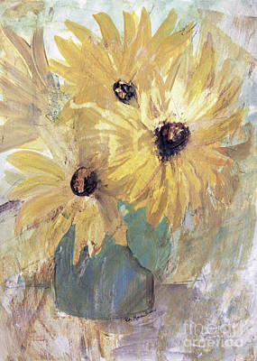 Poster featuring the painting Simply Sunflowers  by Robin Maria Pedrero