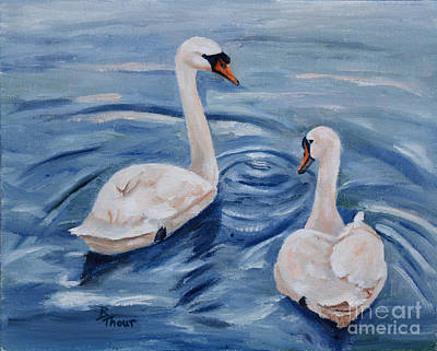 Simply Swans Poster by Brenda Thour