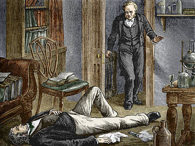 Simpson Researching Anaesthetics, 1840s Poster by Sheila Terry