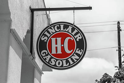 Poster featuring the photograph Sinclair Gasoline Round Sign In Selective Color by Doug Camara