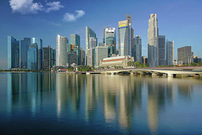 Singapore City And Building In Day Time With Water Flont And Ref Poster