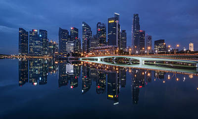 Singapore Skyline Reflection Poster