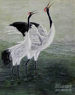 Poster featuring the painting Singing Cranes by Judy Kirouac