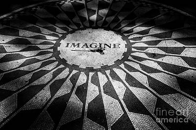 single red rose on the imagine mosaic dedicated to John Lennon in central park New York City USA Poster