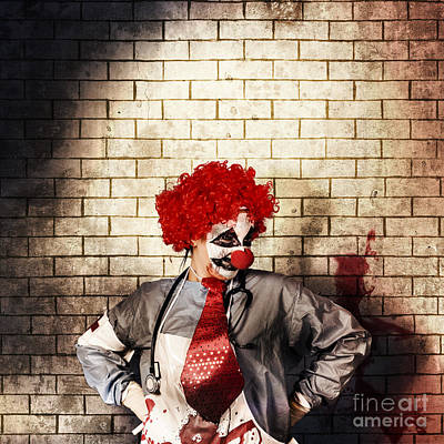 Sinister Gothic Clown Standing On Grunge Brickwall Poster by Jorgo Photography - Wall Art Gallery