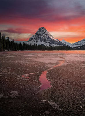 Poster featuring the photograph Sinopah Mountain Sundown // Two Medicine Lake, Glacier National Park  by Nicholas Parker