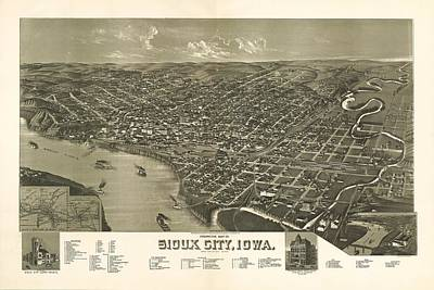 Sioux City Iowa 1888 Poster by Mountain Dreams