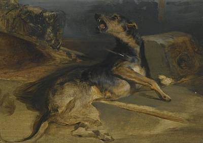 Sir Edwin Henry Landseer, R.a. Study Of A Wounded Hound, From Walter Scott's The Talisman Poster by Celestial Images