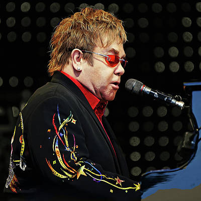 Sir Elton John At The Piano Poster by Elaine Plesser