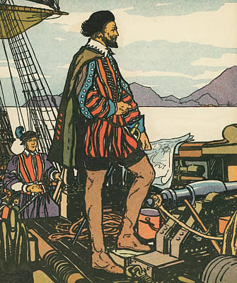 Sir Francis Drake On His Ship Poster