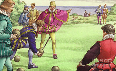 Sir Francis Drake Playing Bowls Before The Arrival Of The Spanish Armada Poster by Pat Nicolle