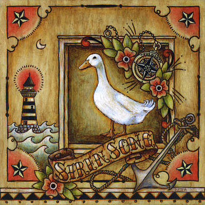 Poster featuring the painting Siren Song Aka Ducking In For A Tattoo by Retta Stephenson