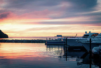 Sister Bay Marina At Sunset Poster