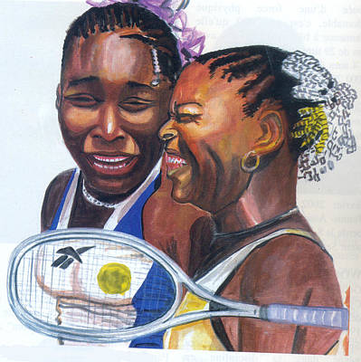 Poster featuring the painting Sisters Williams by Emmanuel Baliyanga