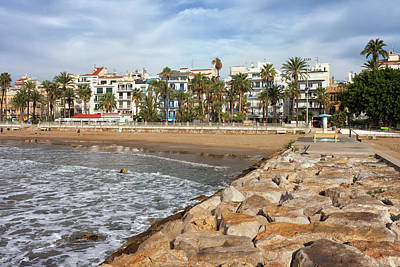 Sitges Town Skyline And Sea Pier In Spain Poster by Artur Bogacki
