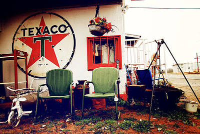 Sitting At The Texaco Poster by Toni Hopper