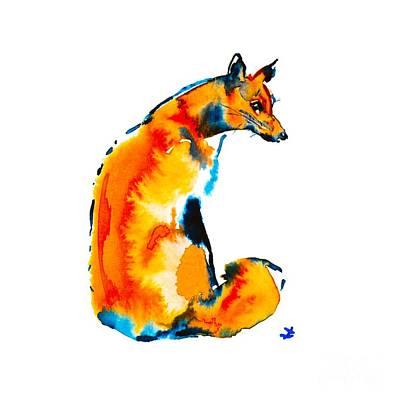 Poster featuring the painting Sitting Fox by Zaira Dzhaubaeva