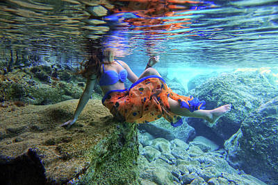 Sitting On The Rock Underwater Poster by Manolis Tsantakis