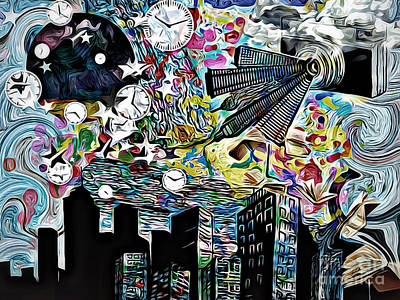 Sity  Abstract  Time, Collage,oil Poster by Olga Lyakh