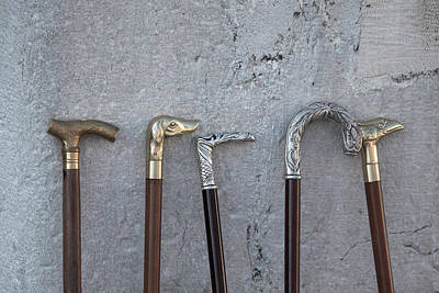 Siver And Bronze Walking Sticks Poster