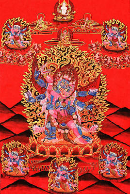 Six-armed Winged Mahakala In Yab Yum Poster by Lanjee Chee