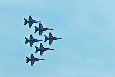 Six Blue Angels In The Clear Blue Sky Poster