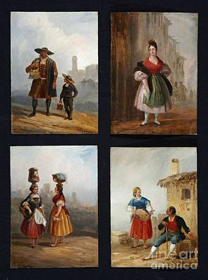 Sixteen Costumbrista Scenes With Spanish Folkloric Types Poster by MotionAge Designs