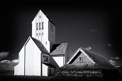 Skalholt Cathedral Iceland Black And White Poster