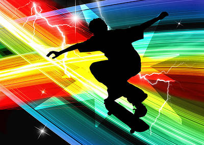 Skateboarder In Criss Cross Lightning Poster by Elaine Plesser