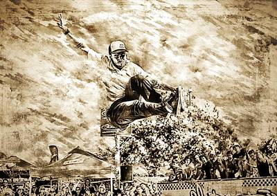 Skateboarder, Sepia Painting Poster by Jean Francois Gil