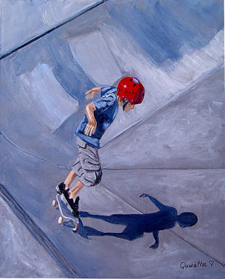 Poster featuring the painting Skateboarding by Quwatha Valentine