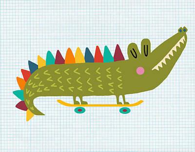Skater Alligator Poster