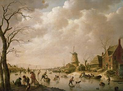 Skaters On A Frozen Canal Poster by Hendrik Willem Schweickardt