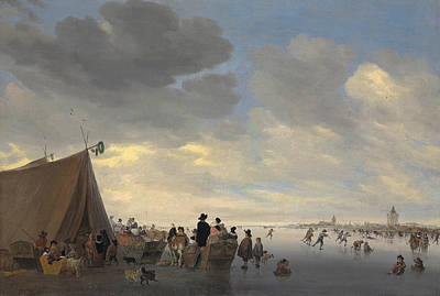 Skaters On The Frozen River Lek, The Town Of Vianen Beyond Poster