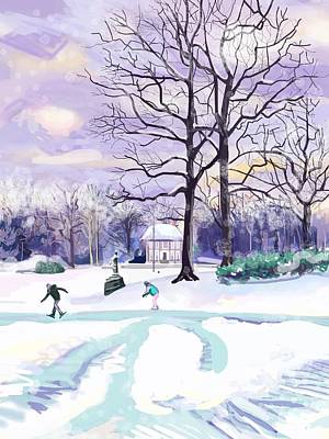 Skating In Huis Ter Heide Poster by Plum Ovelgonne