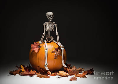 Skeleton With Pumpkin And Leaves Poster
