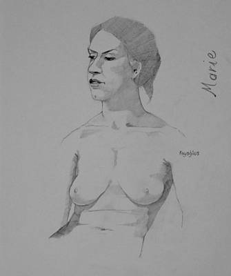 Poster featuring the drawing Sketch For Marie Seated by Ray Agius